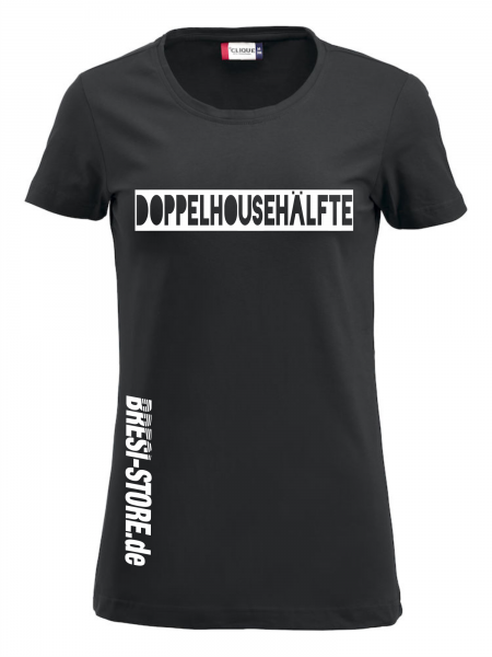 """""""Doppelhousehälfte"""" Damenshirt schwarz"""
